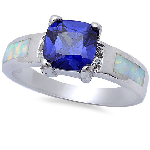 Tanzanite , Cubic Zirconia, & White Opal .925 Sterling Silver Ring Sizes 5-10
