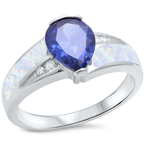 Tanzanite, White Opal & Cz .925 Sterling Silver Ring sizes 6-9
