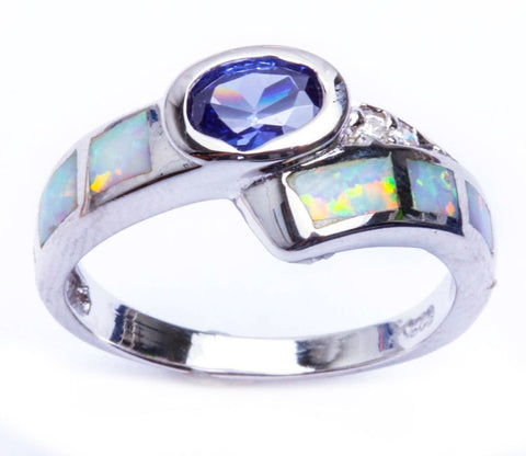White Opal, Tanzanite & Cz .925 Sterling Silver Ring Sizes 6-9
