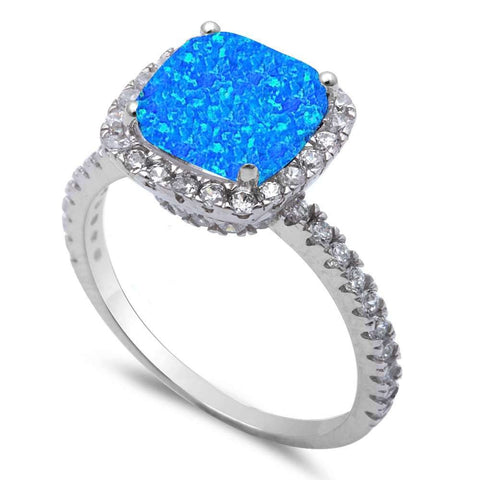 Blue Opal & Cz .925 Sterling Silver Ring sizes 6-10