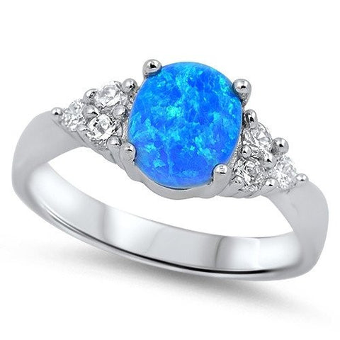 Sterling Silver Lab Created Blue Opal Gemstone Ring with Cz Sizes 4-12