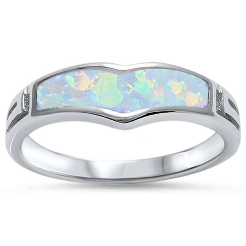 White Opal .925 Sterling Silver Ring Sizes 5-10