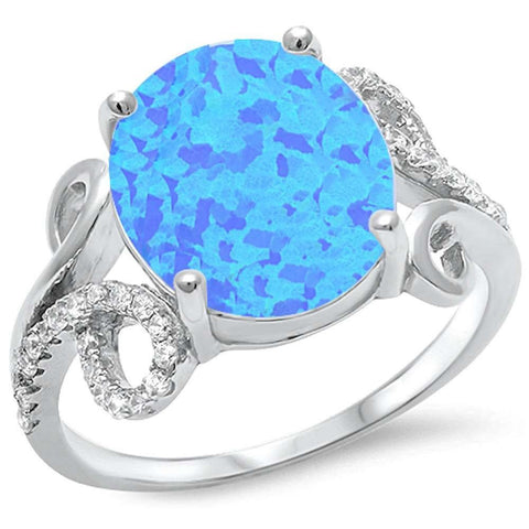 Oval Blue Fire Opal Cubic Zirconia Design.925 Sterling Silver Ring Sizes 5-11