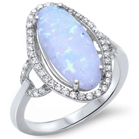 Marquise Shape White Fire Opal & Cubic Zirconia .925 Sterling Silver Ring Sizes 5-10