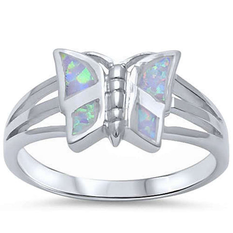 White Opal Butterfly .925 Sterling Silver Ring Sizes 5-10