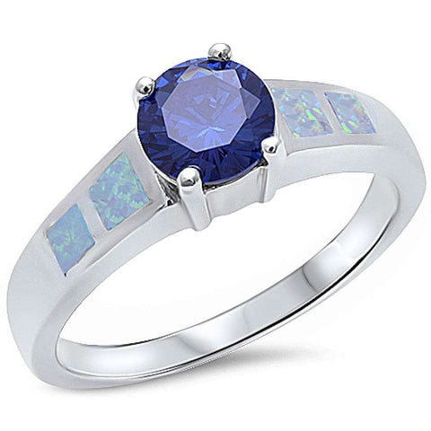 Round Tanzanite & White Opal .925 Sterling Silver Ring Sizes 5-10