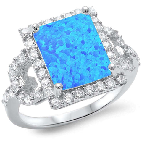 Radiant Shape Blue Fire Opal & Sparkling Cubic Zirconia .925 Sterling Silver Ring Sizes 5-10