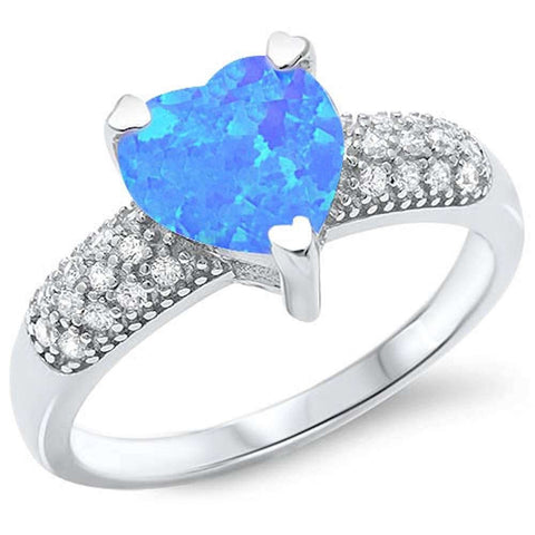 Blue Fire Opal Heart & Micro Pave Cubic Zirconia .925 Sterling Silver Ring Sizes 5-10