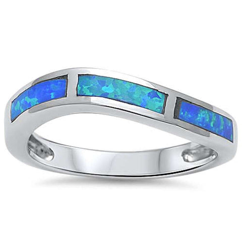 Blue Opal Curve band .925 Sterling Silver Ring Sizes 5-10