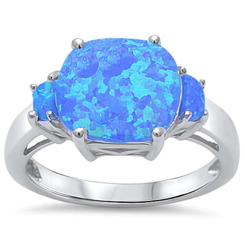 New 3 Blue Fire Opal Fashion .925 Sterling Silver Ring Sizes 5-10