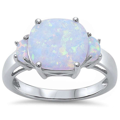 New 3 White Fire Opal Fashion .925 Sterling Silver Ring Sizes 5-10