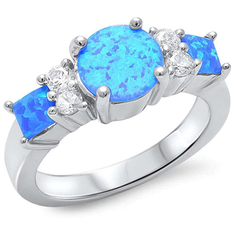 Blue Fire Opal & Cubic Zirconia .925 Sterling Silver Ring Sizes 5-10