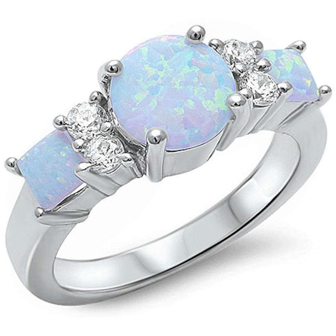 White Fire Opal & Cubic Zirconia .925 Sterling Silver Ring Sizes 5-10