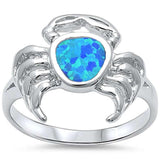 Crab Ring Lab Created Blue Opal 925 Sterling Silver
