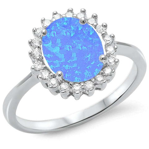 Oval Blue Opal & Cubic Zirconia .925 Sterling Silver Ring Sizes 5-10