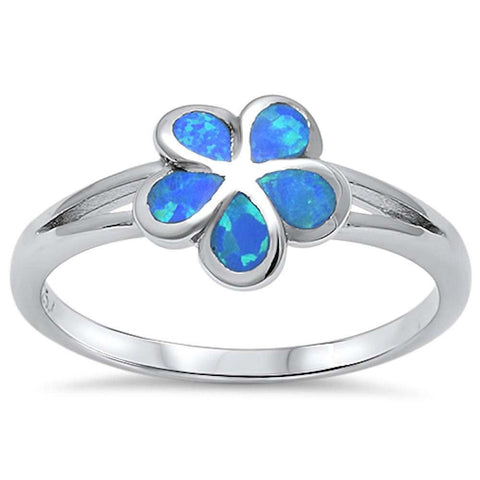 Blue Opal Plumeria .925 Sterling Silver Ring Sizes 4-10