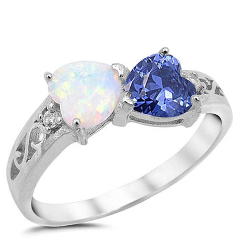 White Opal & Tanzanite Heart .925 Sterling Silver Ring Sizes 5-10