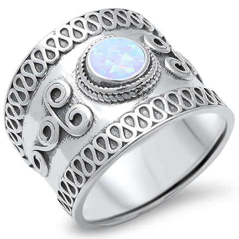 Bali Design White Opal Band .925 Sterling Silver Ring Sizes 5-10
