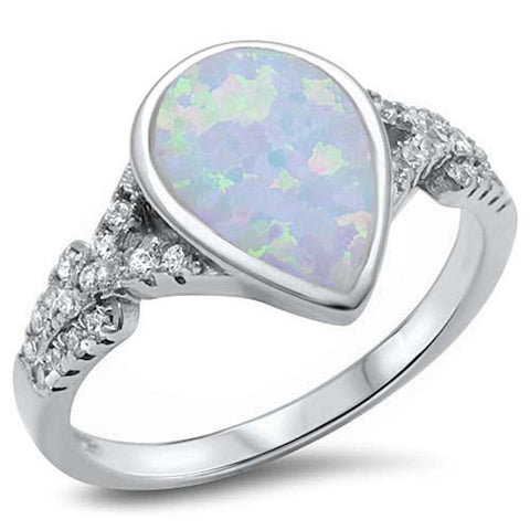 Pear Shape White Opal & Cubic Zirconia.925 Sterling Silver Ring Sizes 5-10