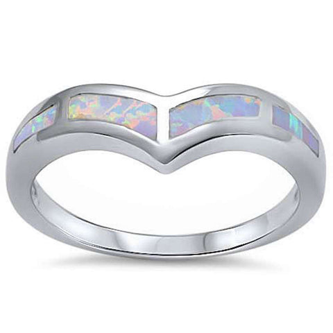 White Opal V Shape Band .925 Sterling Silver Ring Sizes 5-10