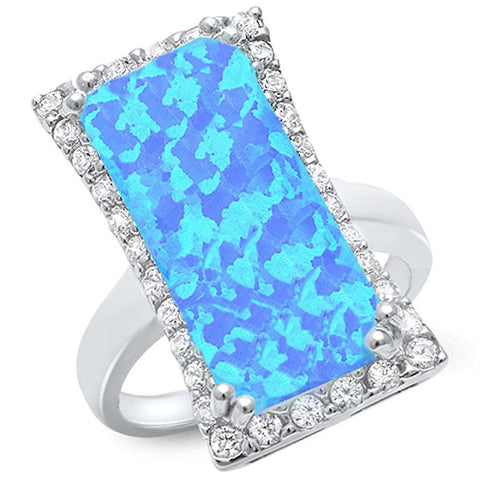 Cocktail Style Blue Fire Opal & Cubic Zirconia .925 Sterling Silver Ring Sizes 6-10
