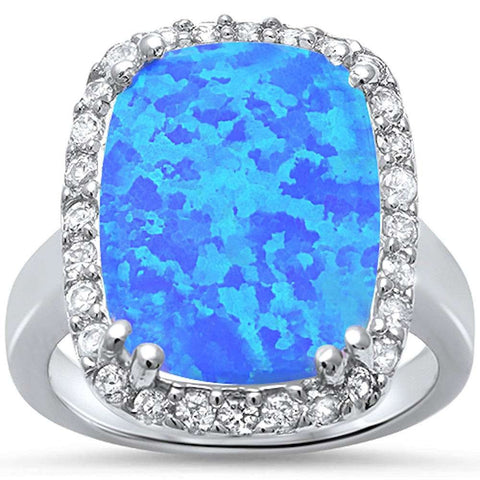 Elegant Blue Fire Opal & Cubic Zirconia .925 Sterling Silver Ring Sizes 5-11