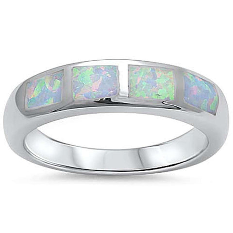 White Opal Band .925 Sterling Silver Ring Sizes 5-10