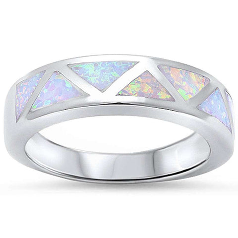 Fashion White Opal Band .925 Sterling Silver Ring Sizes 5-10