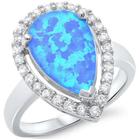 Pear Shape Blue Opal & Cubic Zirconia.925 Sterling Silver Ring Sizes 5-10