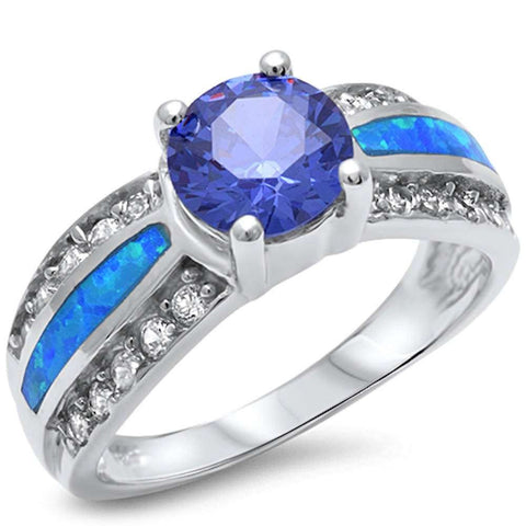 Gorgeous Tanzanite, Blue Opal & Cubic Zirconia .925 Sterling Silver Ring Sizes 5-10