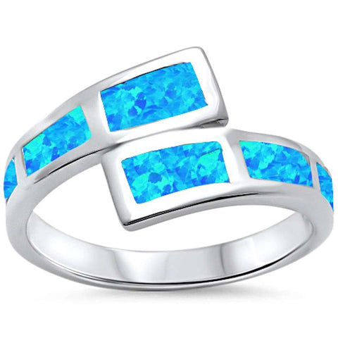 New Design Blue Opal Fashion .925 Sterling Silver Ring Sizes 5-10