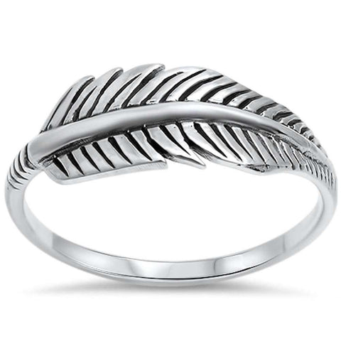 Cute Oxidized Simple Plain Feather Leaf Ring 925 Sterling Silver