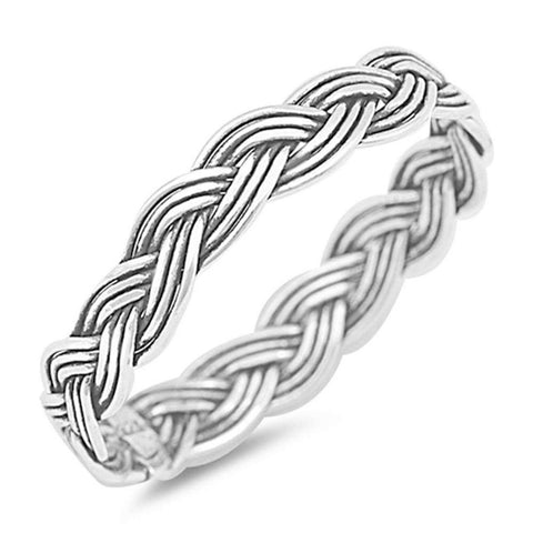 2.5mm Men Women Unisex Braided Band Ring 925 Sterling Silver