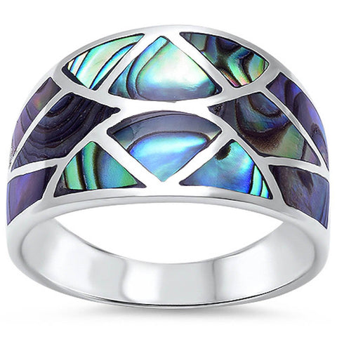 Half Eternity Concave Design Simulated Rainbow Abalone Band Ring 925 Sterling Silver