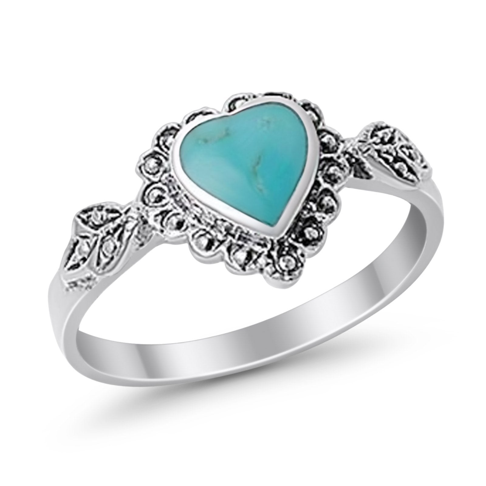 Promise Heart Ring Simulated Turquoise Cubic Zirconia 925 Sterling Silver