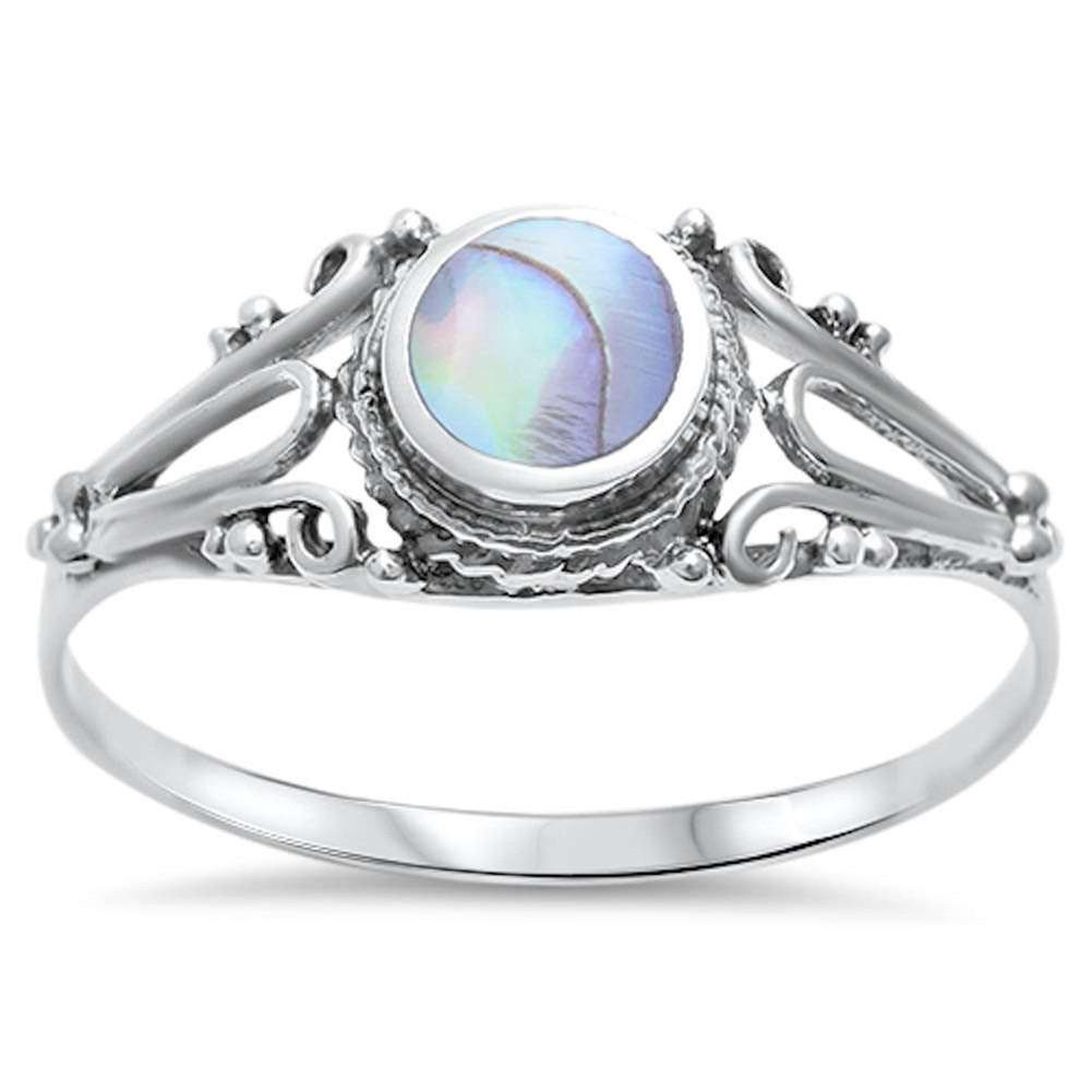 Fashion Solitaire Filigree Swirl Accent Simulated Rainbow Abalone Ring 925 Sterling Silver