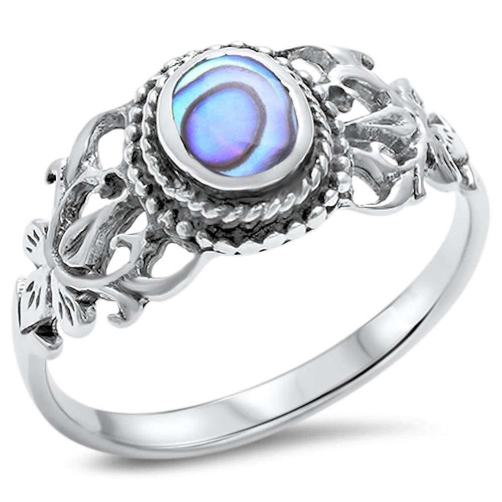 Accent Fashion CZ Ring Oval Simulated Rainbow Abalone 925 Sterling Silver
