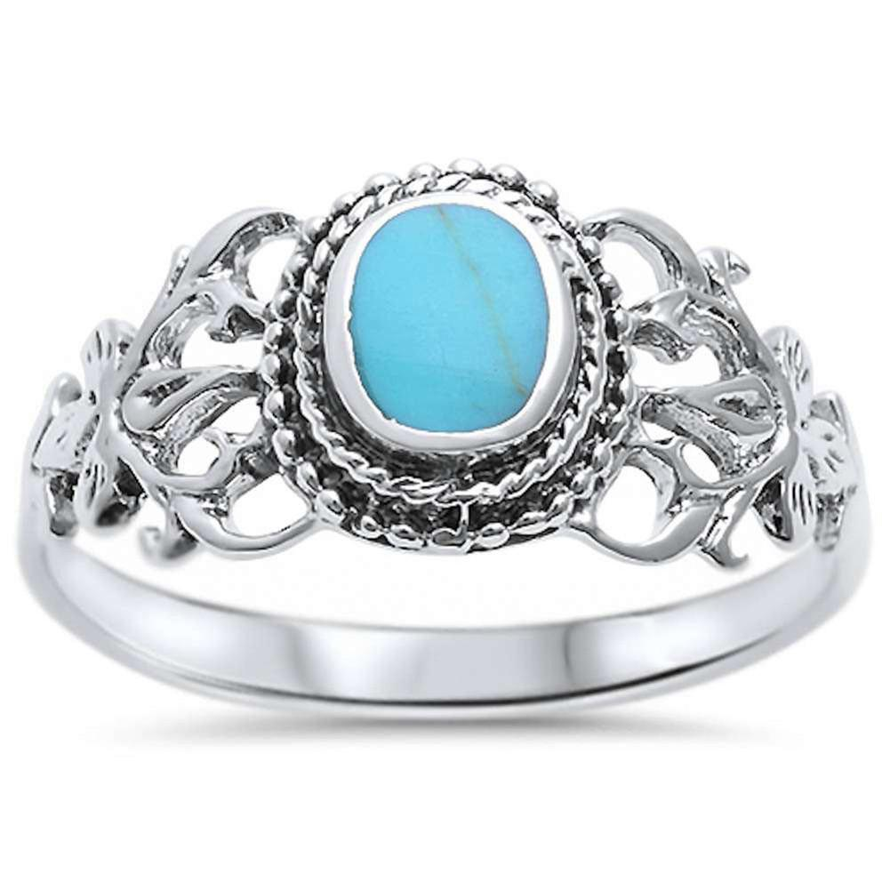 Accent Fashion CZ Ring Oval Simulated Turquoise 925 Sterling Silver