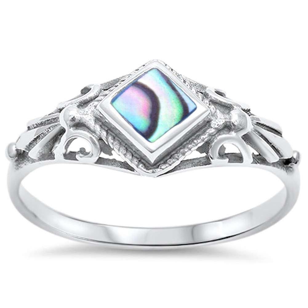 New Design Fashion Sideways CZ Ring Simulated Rainbow Abalone 925 Sterling Silver
