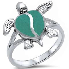 Turtle Ring Simulated Green Turquoise Inlay Solid 925 Sterling Silver