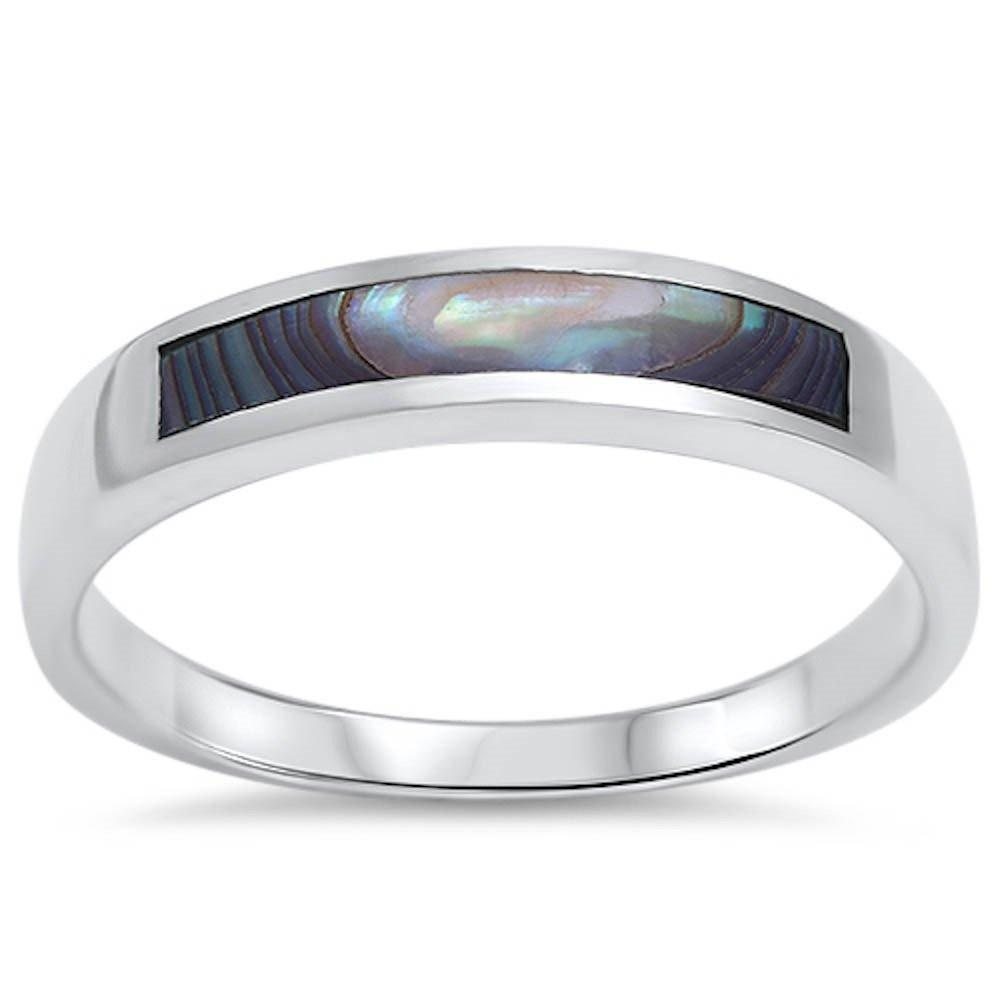 Design Band CZ Ring Simulated Abalone 925 Sterling Silver