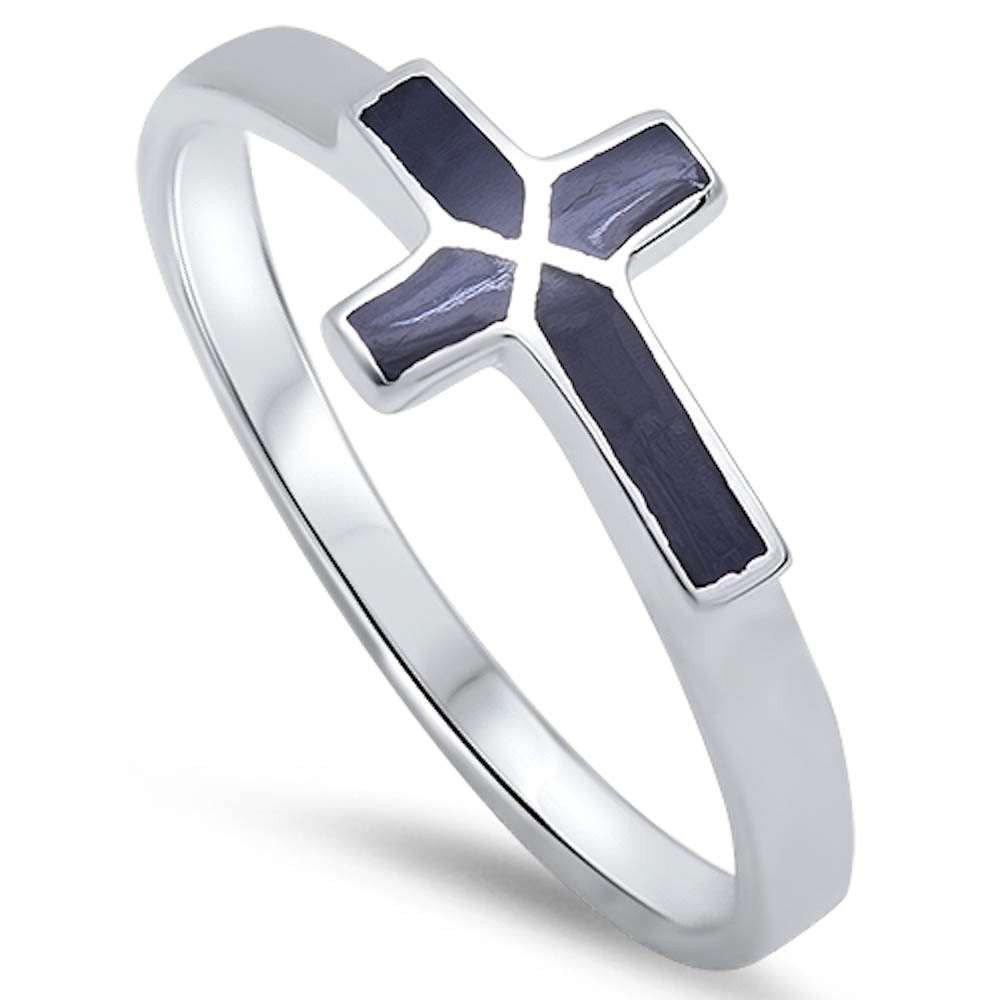 Sideways Cross Ring Simulated Black onyx 925 Sterling Silver