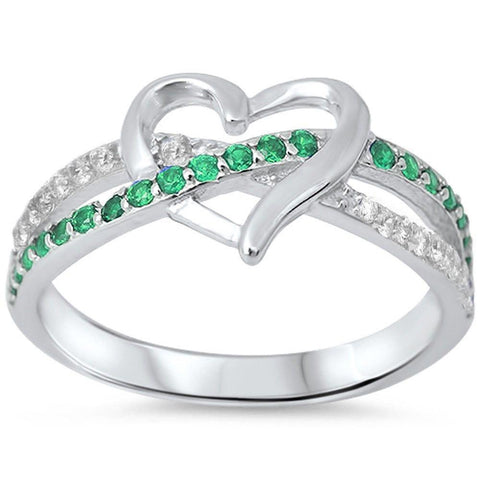 Infinity Heart Ring Round Simulated Green Emerald and CZ 925 Sterling Silver
