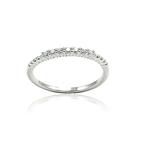 Half Eternity Stackable Wedding Engagement Band Round Cubic Zirconia 925 Sterling Silver