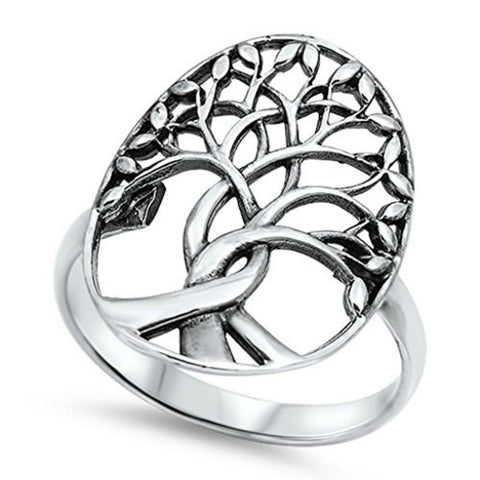 Tree of Life Ring Solid Family Tree of Life Band 3-14 Simple Plain 925 Sterling Silver