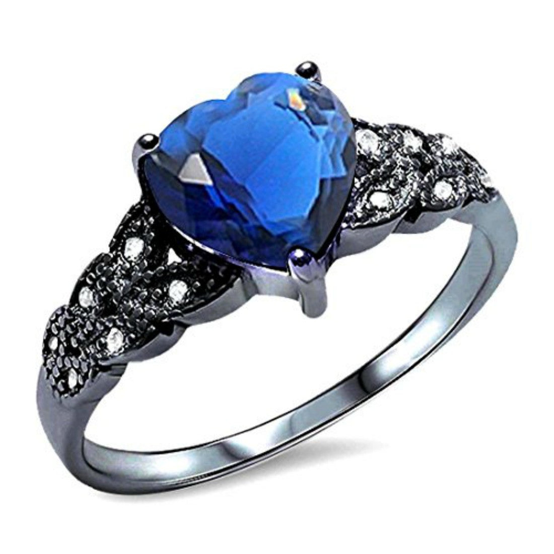 Accent Heart Promise Ring Simulated Blue Sapphire CZ Black Tone 925 Sterling Silver