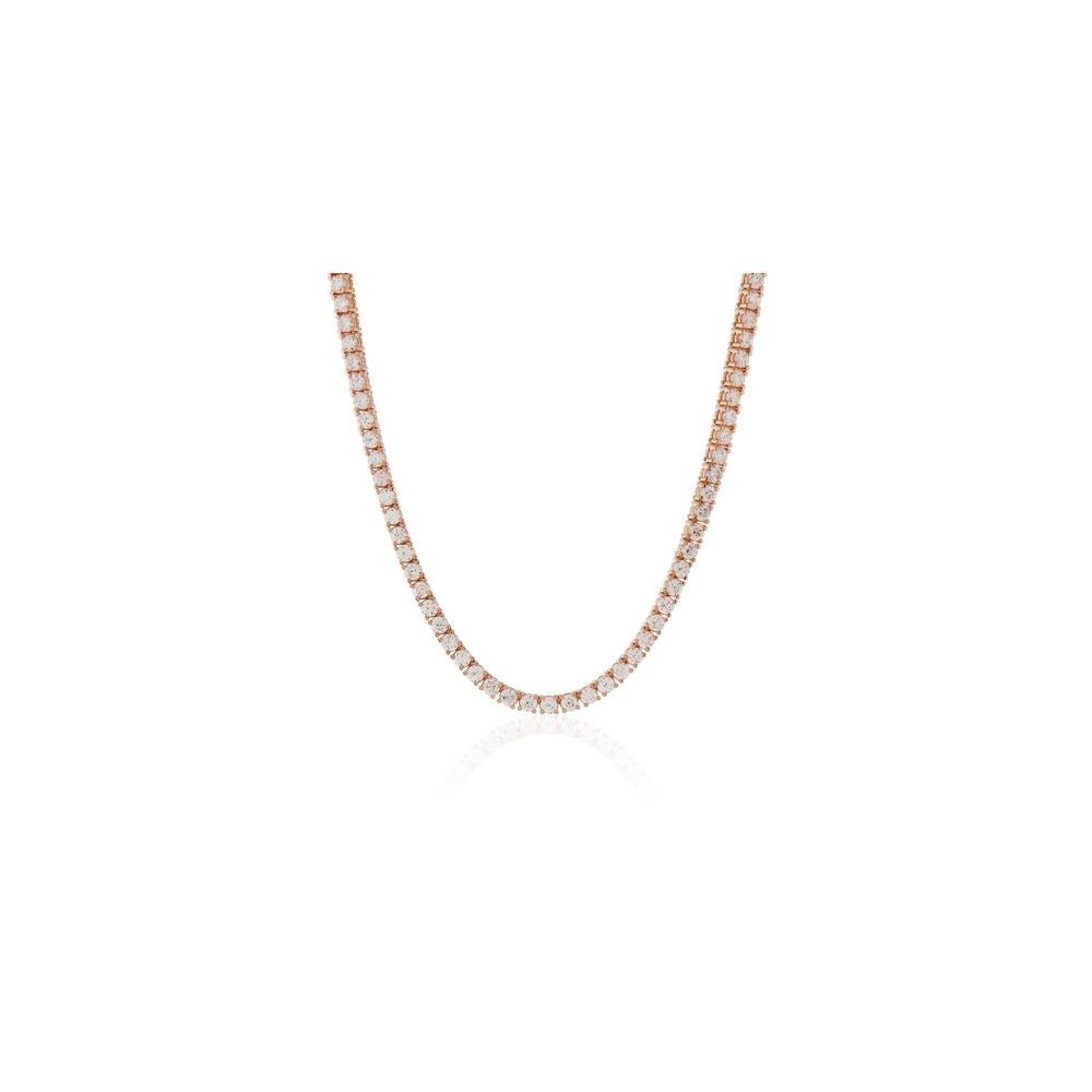 "2.5MM CZ Tennis Necklaces Rose Tone .925 Sterling Silver Length ""17 to 24"" Inches"