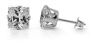 Stainless Steel Square CZ Stud Earrings (Clear CZ)