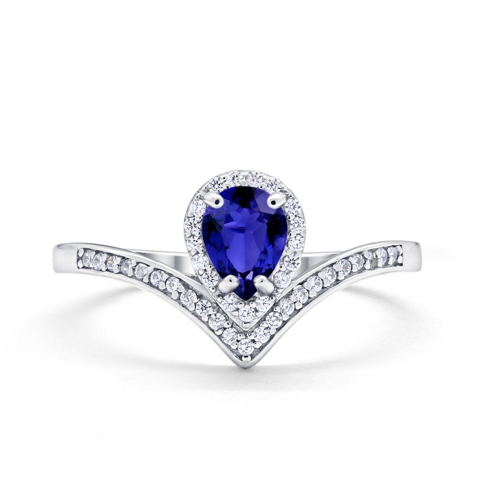 Teardrop V Midi Ring Pear Simulated Blue Sapphire CZ 925 Sterling Silver
