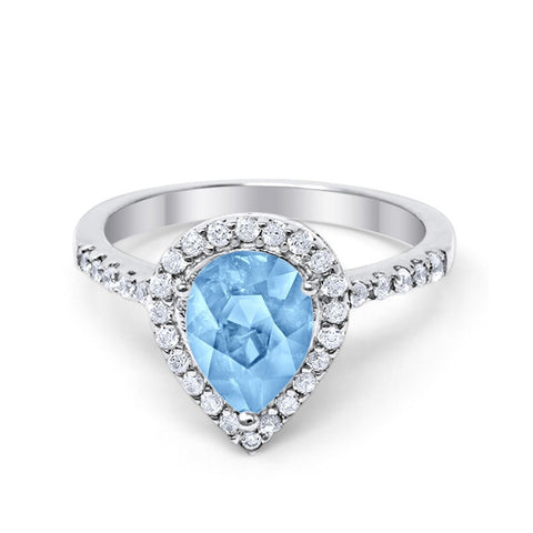 Halo Teardrop Bridal Filigree Ring Simulated Aquamarine Round Cubic Zirconia 925 Sterling Silver